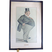 Original 1887  Vanity Fair Spy Lithograph, from Leslie Ward Watercolor, of Honorable McCharles Elton, Victorian Era