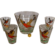 1960's Outdoorsmen's Bar Mixing Glass Bowl, Drink Glasses, Pheasant Hunting Sprtsmen