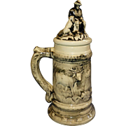 Huge Vintge Germany Made Beer Stein, Porcealin, Octoberfest, Hunter and Gun, Pipe Smoker, Dog & Buck Deer, Over One foot tall !