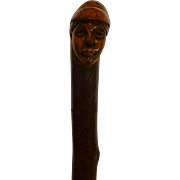 Antique European Folk Art Cane, Hand Carved Peasant Woman Face, Old Cap, Signed by Carver, 1700-1800's