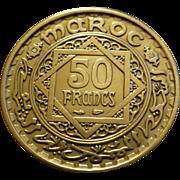 1951 Vintage, Bronze Morocco Coin, Paris France Mint, 50 Francs