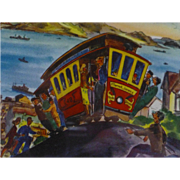 1950's, San Francisco, Ted Lewy Print of Original Watercolor, Hyde St. Cable Car