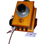 Rare Antique Telephone Intercom, Kellogg Co., Chicago, 1900, New Brunswick Tel. Co., Bakelite, Wood Case