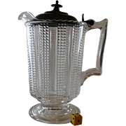 Antique  Glass Pitcher, Pewter Top, Superb Condition, Early 1900's American