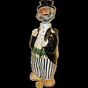 Vintage Rye Decanter, Irish Drunk Man, Hand Painted, Ceramic, Flawless condition