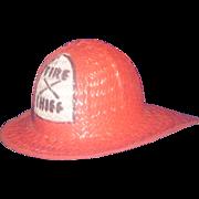 Toy Fireman Helmet, Woven Straw, 1960, Firefighter Memorabilia, Carnival or Gas Station Prize Hat