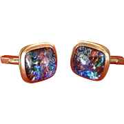 1960's, Gold Plated, Fire Opal - Like  Cufflinks, Gentleman's Accessory, Retro Cuff Links