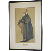 Vintage Vanity Fair Spy Chromo Lithograph, 1889, from Watercolor of Leslie Ward, England, Victorian Era