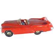 1950's Marx Friction Toy Race Car, The Sabre Concept Car, Roadster, Plastic, Rocket Exhaust and Fins