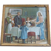 1800's Victorian Era Chromo Lithograph, Excellent Original Condition, Jesus Christ & Last Supper
