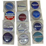 Bernie Sanders Predecessor, Vintage 1972 George McGovern President Campaign, Liberal Political Pins, 12 Original Pieces