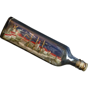1940's Ship in a Bottle, Rye NY, Long Island Sound, Johnny Walker Kilmarnok, Signed