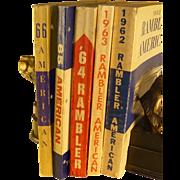 Original Rambler Automobile Technical Service Manuals, Five Vintage Books 1962 thru 1966, Excellent Condition, Automobilia