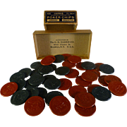 "Vintage Poker Chips, Circa 1910, GH Harris Co., Brooklyn, NY, Origianl Box, Clay Composition, 1.5"" Diameter"