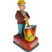 "Scarce 1950's Tin Litho Toy, ""Bubble Blowing Musician"", Battery Operated, Occupied Japan"