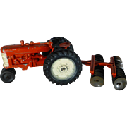 Vintage 1960's Toy Farm Tractor and Disc Harrow, Die Cast, Excellent Condition