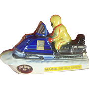 Vintage 1970's Snowmobile Decanter, Bourbon Whiskey, Maine, Platinum Paint, Porcelain