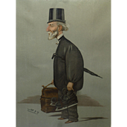 Vintage Original Vanity Fair Spy Lithograph Print, Men of the Day, 1900, by Leslie Ward, from Watercolor, Caricature Hubert Canning