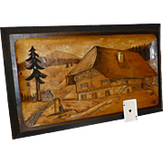 Antique Black Forest Hand Carved Mountain Chalet Scene, Switzerland, Solid European Walnut