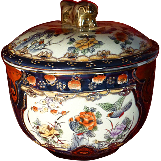 Vintage Pre War Rice Bowl, Circa 1930's, Mainland China, Hand Painted Porcelain, Gold Accents, Impeccable Condition