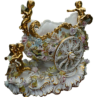 "Magnificent Vintage Capodimonte, Italy Import, Hand Painted Chariot Carriage, Gold Accents, 16"" Long !!, 9 lbs."