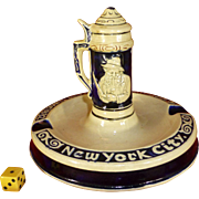 1940's Luchow's Restaurant Souvenir, NY City, Manhatten, Germany, Stein Ashtray, Bohemian Club, Hand Painted, Ceramic Pottery
