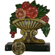 "Early Cast Iron Door Stop, Superb Condition, Hand Painted, Turn of Century, "" Flowers in Urn """
