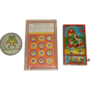 "Set of Three 1950's Bagatelle Toy Games, America's Early "" Pinball Machines "", Football, Frog, Nice Litho's"