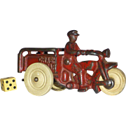 "Harley Davidson 1920's Toy, Hubley's Famous Police "" Crash Car "", Cast Iron, Original Paint"