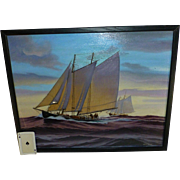 Signed, Vintage Steve Toomey, Notable Nautical Cape Cod Artist, Stretched Canvas Transfer Print, 1970's