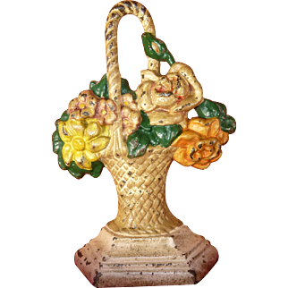"Hubley Early 1900's Doorstop, #43 ""Basket of Flowers"", Original Hand Painting, Cast Iron, 100% Guaranteed Old"