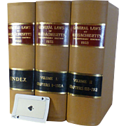 1932 General Laws of Massachusetts, Complete 3 Volume Set, Special Three Hundredth Anniversary Edition,   Immaculate Condition