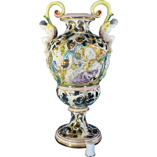 Vintage Capodimonte Vase, Urn, Sexually Suggestive Figures, Hand Painted, Marked in Gold #807 Italy, Flawless