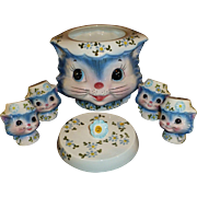 1950 Miss Priss Cat / Kitten Cookie Jar #1520,  by Lefton Japan.  Two Pairs Salt & Pepper Shakers. All Hand Painted