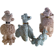 1950's Lefton Porcelain, Japan, Five French Poodles, Spaghetti Design, Immaculate Condition, Retro Look