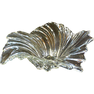 Heavy Leaded Crystal Glass Bowl, Swirl Toss Design,  Flawless Condition