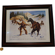 "Famous Ken Schmidt Western Print, "" Mountain Man Under Attack "", Double Signed Limited Edition, Lone Star Studios, NY"