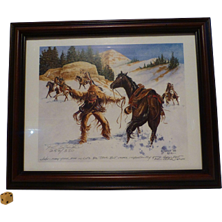"""Famous Ken Schmidt Western Print, """" Mountain Man Under Attack """", Double Signed Limited Edition, Lone Star Studios, NY"""
