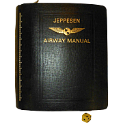 1960's Jeppeson Airway Manual, Leather, Approx 1900 Airport Approach Charts, East Coast USA