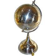"Vintge 1960's World Planet Globe, Hand Etched, Stainless Steel, One-Of-A-Kind, 16"" Tall !!!"