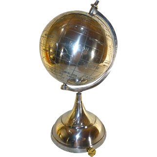 """Vintge 1960's World Planet Globe, Hand Etched, Stainless Steel, One-Of-A-Kind, 16"""" Tall !!!"""