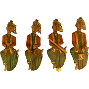 "11"" Tall, Vintage Handcarved & Handpainted Middle Eastern Men, ca 1950's, Eclectic Wall Hangers,"