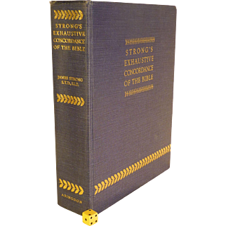 """Famous, """" Strong's Exhaustive Concordance of the Bible """", Vintage, Over Half Century Old, Immaculate Condition, 12"""" Tall"""