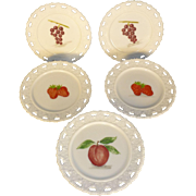 """Vintage Kemple Sweet White Milk Glass Dish Plates, Hand Painted Fruit, 8"""" Pierced Lacy Edge, Flawless Condition"""