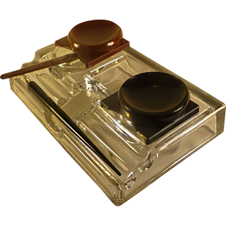 Rare Art Deco, Leaded Glass Paragon Ink Well, Bakelite Covers, by Frank Weeks, NY, Patented 1913