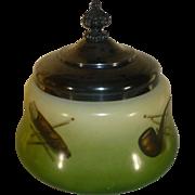 Antique Porcelain Humidor, Schwarzburg Germany, 1904, Tobacciana, Monarch Silver Plate Lid
