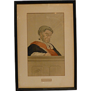 Original Vintage 1877 Vanity Fair Lithograph, Victorian Age, Red Sashed Judge, Sir William Grove