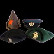 Four Vintage Military Hats / Caps, Militaria.