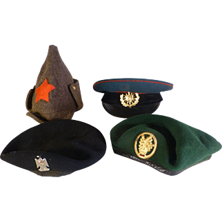 Four Vintage Military Hats / Caps, Militaria.