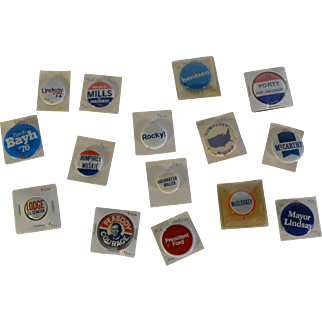 Vintage Set of President Campaign Political Buttons, Muskie, Goldwater, Humphrey, Lodge, McCarthy, etc